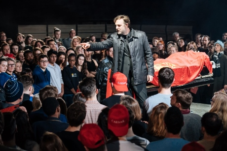 David Morrissey Mark Anthony Julius Caesar at the Bridge Theatre  Photographer credit Manuel Harlan