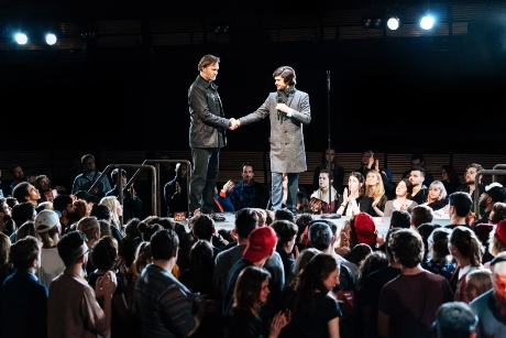 lr David Morrissey Mark Anthony and Ben Whishaw Brutus Julius Caesar at the Bridge Theatre  Photo credit Manuel Harlan