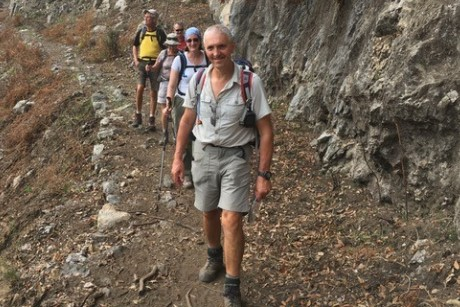 Peter 'Wolfy' Snelson leads the group on a route