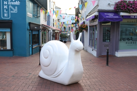 One of the snail sculptures in The Lanes, Brighton