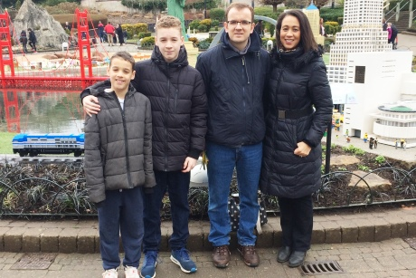 Michelle and her family on their day out to LEGOLAND.