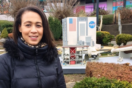 Michelle outside the NASA station