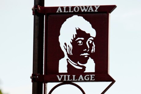Signage for Alloway Village at Alloway, birthplace of Robert Burns