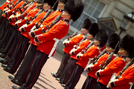The Changing of the Guard ceremony at Buckingham Palace Westminster London