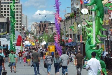 Montreal's Festival City area during the Just for Laughs comedy festival