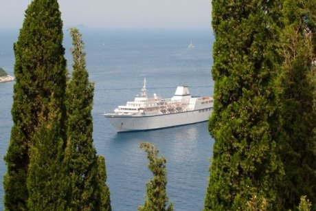 Voyages to Antiquity's Aegean Odyssey ship at sea