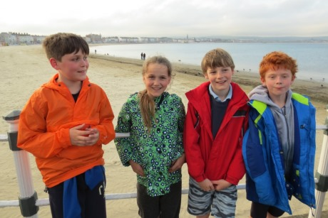 Pupils at Weymouth Beach.