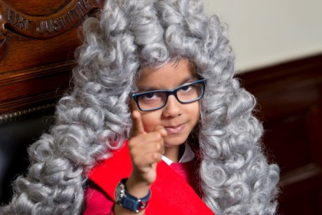 Vishakh was given the role of Judge in the trial