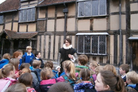 With a guide at Tudor World