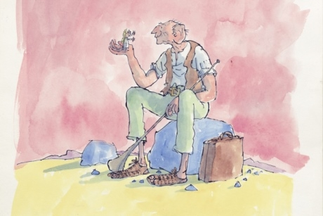 Cover artwork for 'The BFG' (Jonathan Cape%2C 1982) %C2%A9 Quentin Blake.