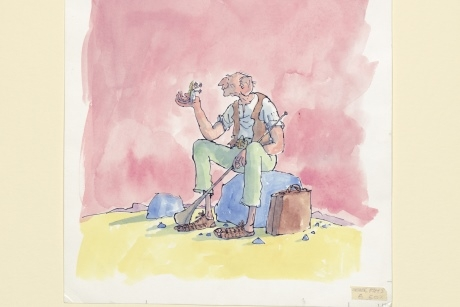 Cover artwork for 'The BFG' (Jonathan Cape%2C 1982) Copyright Quentin Blake